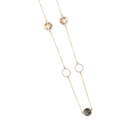 Necklace with crystals smoky quartz, champagne and zircons