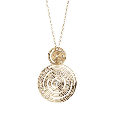 Necklace Plated Yellow Gold Pendant With inspiration Maya and Swarovski