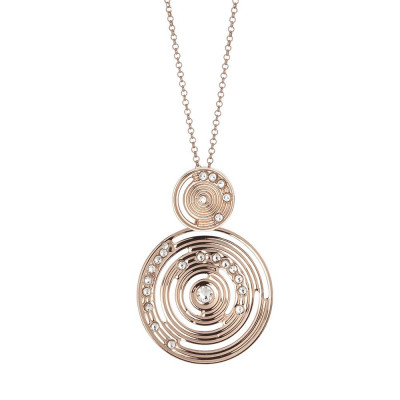 Plated necklace pink gold pendant with inspiration Maya and Swarovski