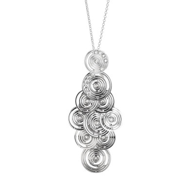 Rhodium plated necklace with a pendant in the bunch and Swarovski