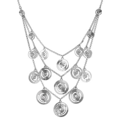 Multi-Strand necklace rhodium plated pendant with concentric and Swarovski