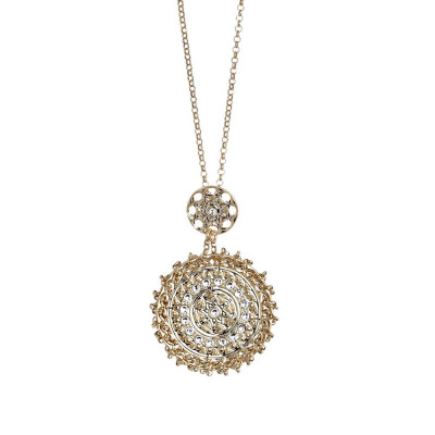 Necklace Gold Plated yellow with Etruscan decoration in bas-relief and Swarovski