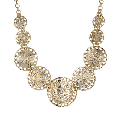 Short Necklace Gold Plated yellow with semi-rigid breastplate and Swarovski