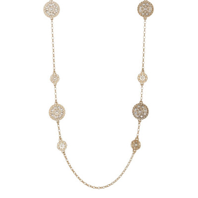 Long necklace Gold Plated yellow with decorations of the Etruscans and Swarovski