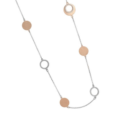 Long necklace bicolor with elements decorated scratched and zircons