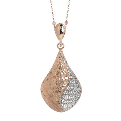 Plated necklace pink gold pendant with rhomboidal in electrofusion