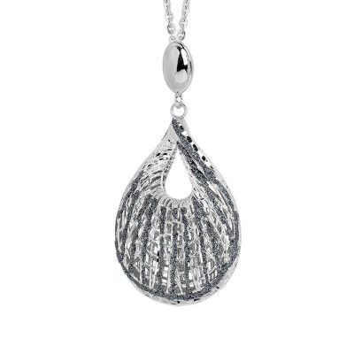 Rhodium plated necklace with a pendant in the chill in electrofusion and glitter