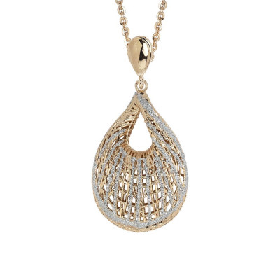 Necklace Plated yellow gold pendant with a shell in electrofusion and glitter