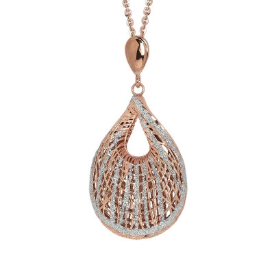 Plated necklace pink gold pendant with a shell in electrofusion and glitter