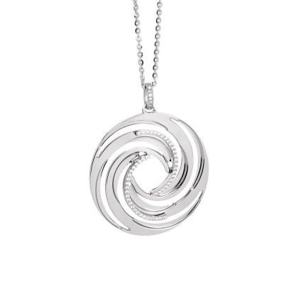 Rhodium plated necklace with a pendant from the decoration a vortex and zircons
