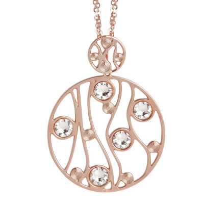 Plated necklace pink gold pendant with circular and Swarovski