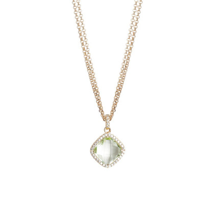 Necklace double wire with crystal chrysolite and zircons