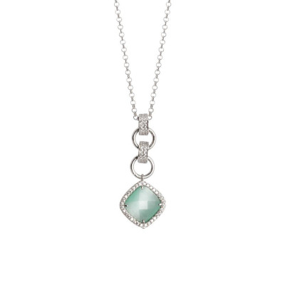 Necklace with pendant briolette crystal green mint and zircons