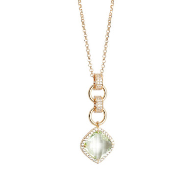 Necklace Pendant with crystal chrysolite briolette and zircons