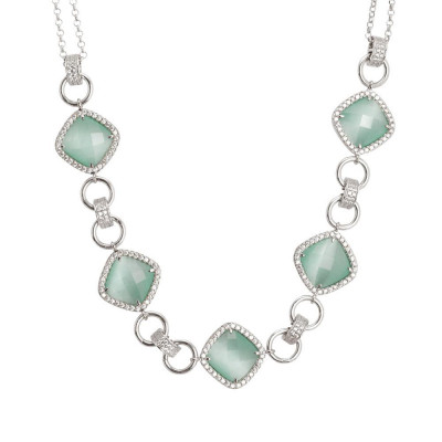 Necklace double wire with central decoration of crystals green mint and zircons