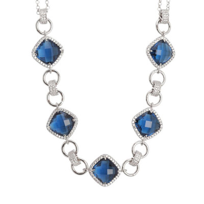 Necklace double wire with central decoration of crystals blue montana and zircons