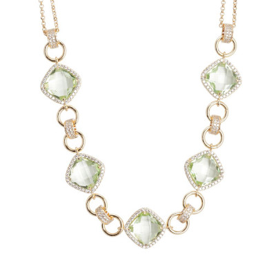 Necklace double wire with central decoration of chrysolite crystals and zircons