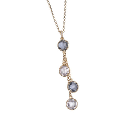 Necklace Pendant with a sprig of fumèe crystals crystal and zircons
