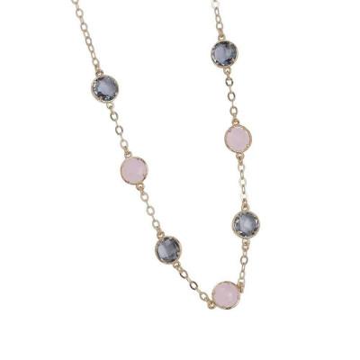 Necklace with crystals fumèe pink quartz milk