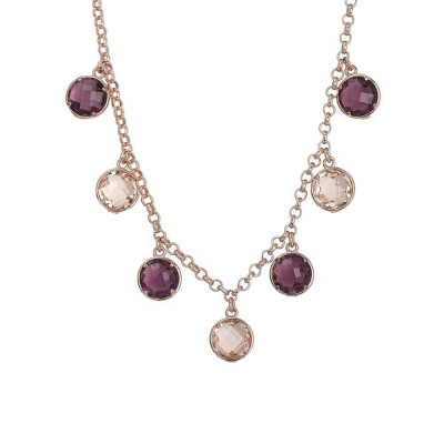 Necklace with crystals amethyst pendant and peach