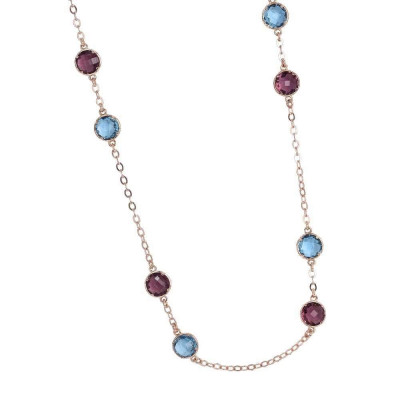 Long necklace with crystals sky and amethyst
