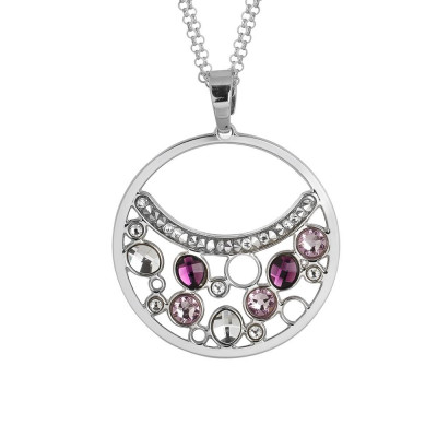 Necklace double wire with a pendant decorated with Swarovski crystal and ametyst