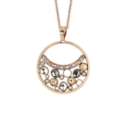 Necklace double wire with a pendant decorated with Swarovski crystal, peach and silver night