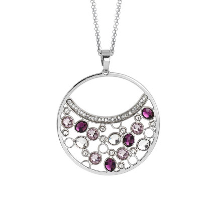 Double necklace wearing   pendant with Swarovski crystal and ametyst