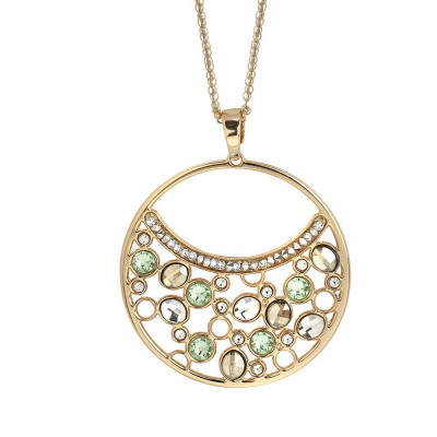 Double necklace wearing pendant with Swarovski crystal, chrysolite and gold