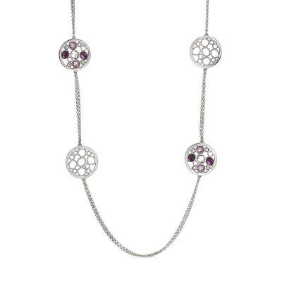 Long necklace double rhodium plated wire with decorations in Swarovski