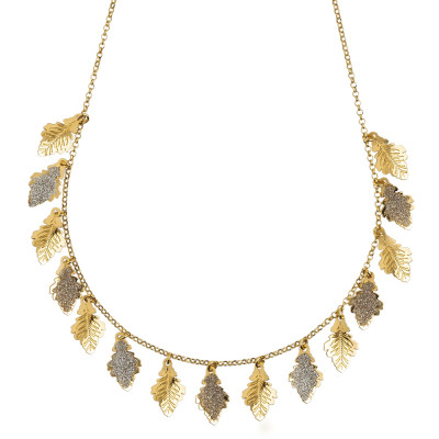 Yellow gold plated necklace with smooth and glittery leaves