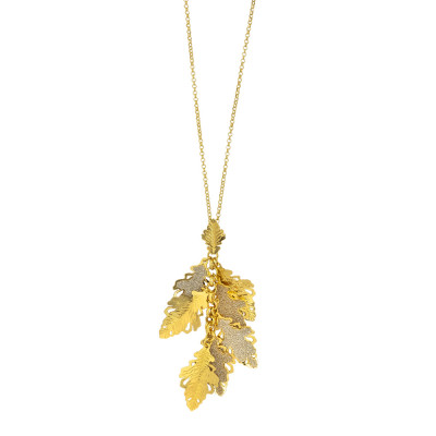 Yellow gold plated necklace with oak leaf tuft