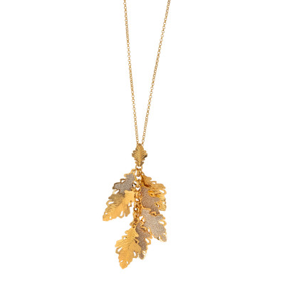 Rose gold plated necklace with tuft of oak leaves