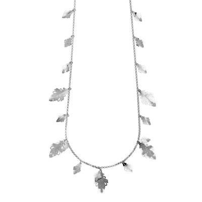 Long rhodium-plated necklace with hanging oak leaves