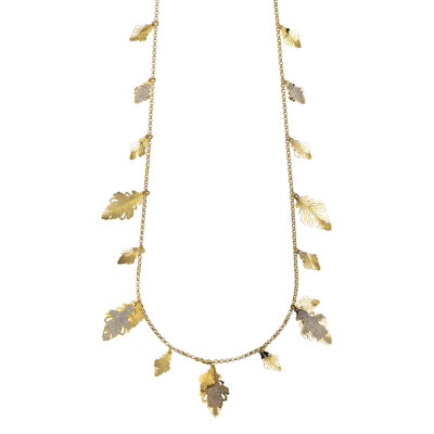Yellow gold plated long necklace with hanging oak leaves