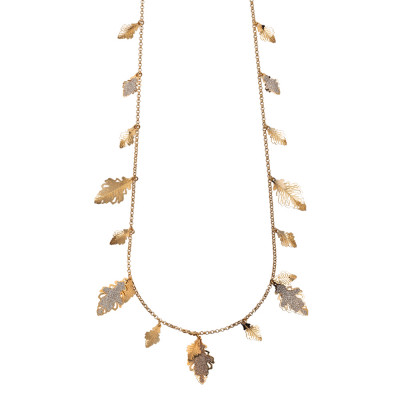 Long necklace rose gold plated with hanging oak leaves