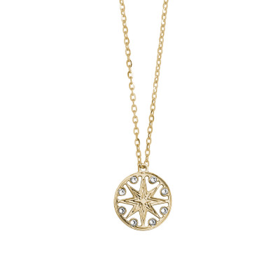 Yellow gold plated necklace with pendant and Swarovski