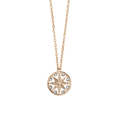Rose gold plated necklace with pendant and Swarovski