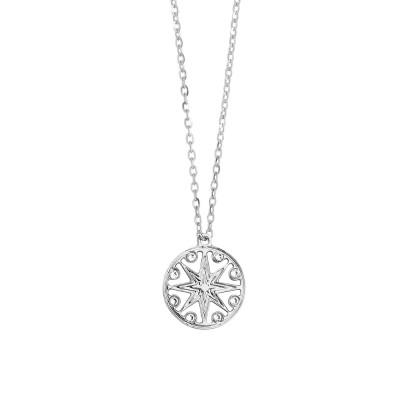 Rhodium-plated necklace with pendant and Swarovski