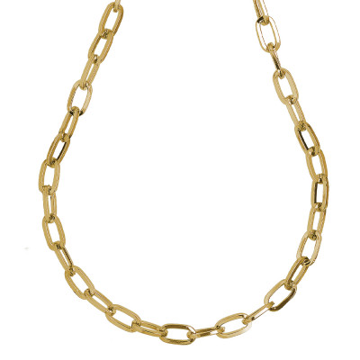 Yellow gold plated necklace with large rectangular links