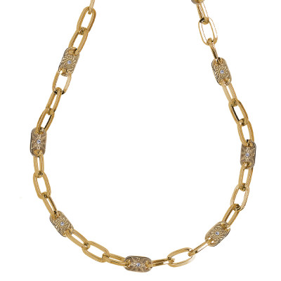 Yellow gold plated necklace with rectangular links and decorated with Swarovski