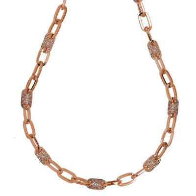 Rose gold plated necklace with rectangular links and decorated with Swarovski