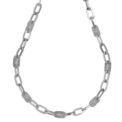 Rhodium-plated necklace with rectangular links and decorated with Swarovski