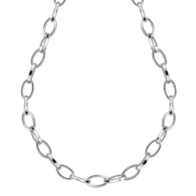 Rhodium-plated necklace with oval links