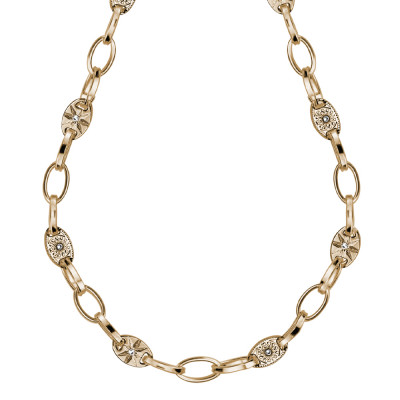 Yellow gold plated necklace with oval links and Swarovski