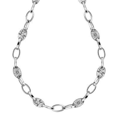 Rhodium-plated necklace with oval links and Swarovski