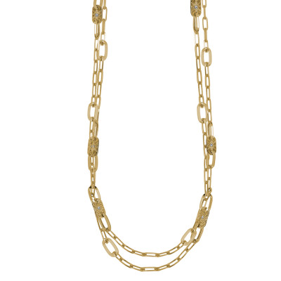 Yellow gold plated double strand necklace with oval links and Swarovski