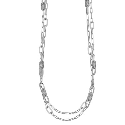 Rhodium-plated double strand necklace with oval links and Swarovski