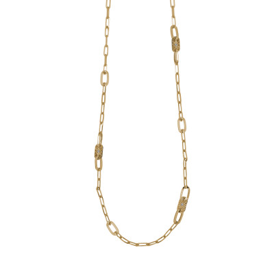 Long necklace yellow gold plated with oval links and Swarovski