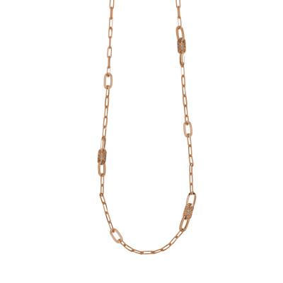 Long necklace rose gold plated with oval links and Swarovski